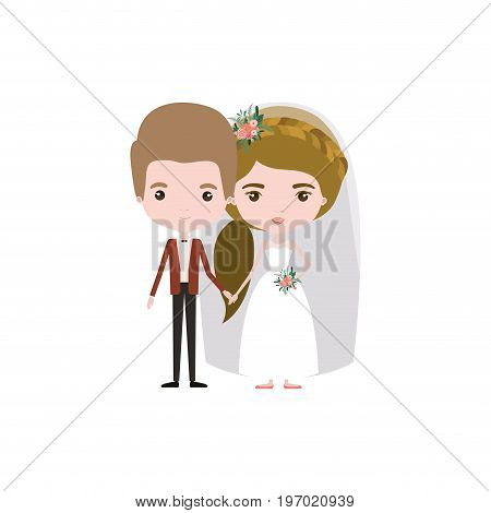 colorful caricature newly married couple groom with formal wear and bride with ponytail side long hairstyle vector illustration