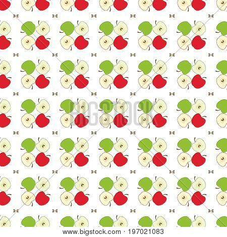 Apple pattern, red and green apples, vector EPS 8