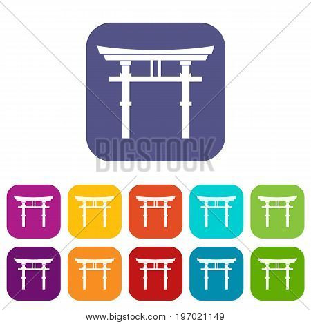 Japanese torii icons set vector illustration in flat style in colors red, blue, green, and other