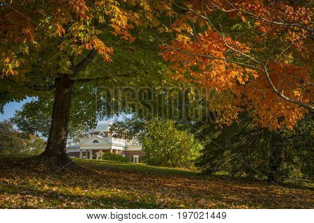 Thomas Jefferson Monticello home in beautiful fall autumn colors historic