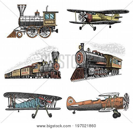 set of passenger train and airplanes corncob or plane aviation travel illustration. engraved hand drawn in old sketch style, vintage transport