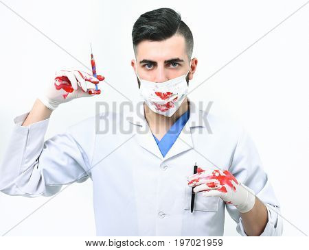 Doctor In Surgical Mask And Gloves Isolated On White Background