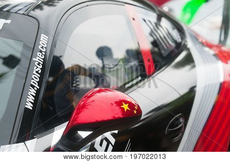 Bang Saen Thailand - July 1 2017: Detail of the Porsche GT3 Cup of Zhang Dasheng from China during Porsche Carrera Cup Asia at Bang Saen Street Circuit in Bang Saen Chonburi Thailand.