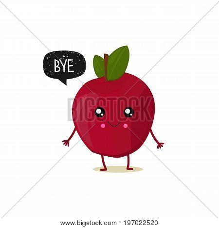 Apple With Speech Bubble. Black Grunge Badge. Balloon Sticker. Bye. Vector Illustration.