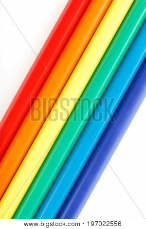 Color Pencils Isolated On White Background. Many Different Colored Pencils. Colored Drawing Pencils