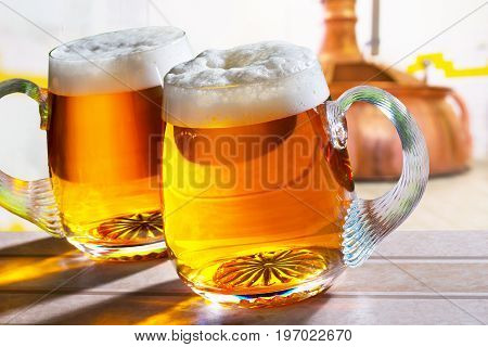 Two Glass of Beer in the Brewery