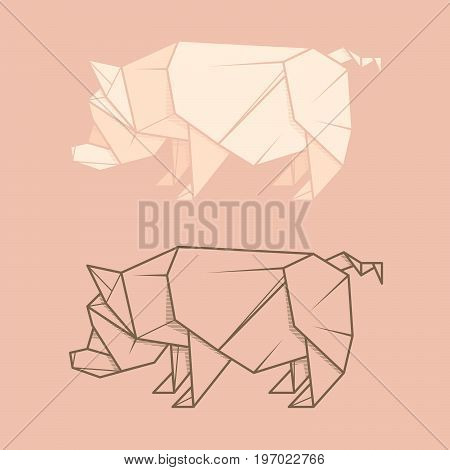 Set vector simple illustration paper origami and contour drawing of pig.