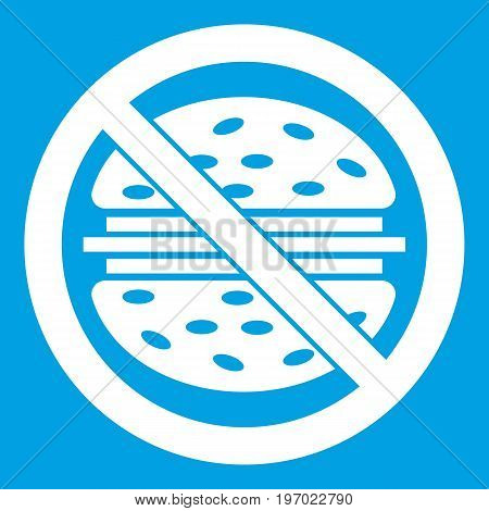 Stop fast food icon white isolated on blue background vector illustration