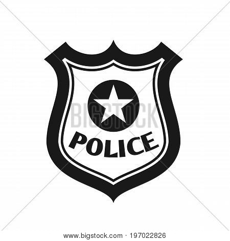 Police badge icon in flat style isolated on background. Police symbol. Vector stock.