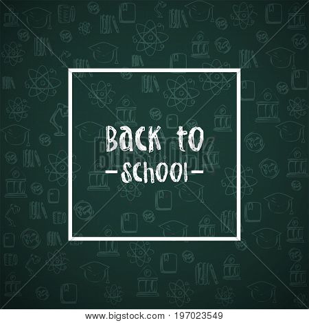 Back To School Background. Vector Illustration. Grunge Texture. Doodle Style Icons. Back To School W