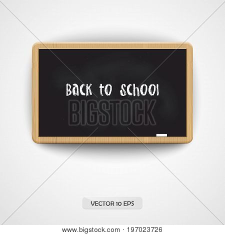 Back To School. Vector Illustration. Wooden Blackboard Isolated On White. Back To School Background.