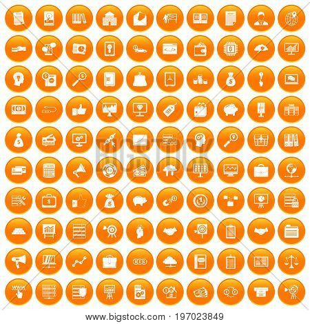100 business process icons set in orange circle isolated on white vector illustration