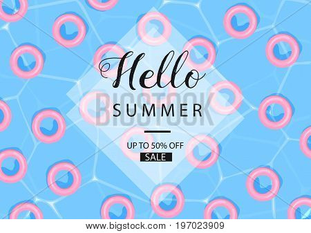Pool Water With Pink Floats. Summer Background. Sale Banner. Summer Sale. Swimming Pool. Vector.