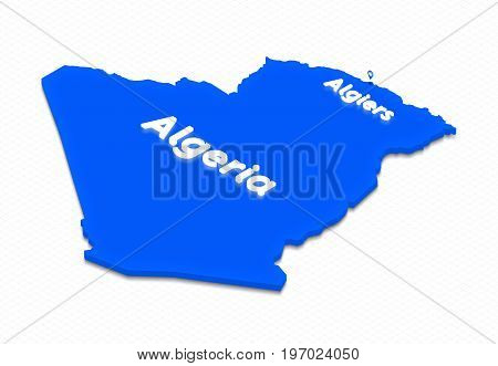 Map Of Algeria. 3D Isometric Perspective Illustration.