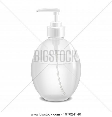 Realistic Template Blank Plastic Bottle Pack with Dispenser Cosmetic Product Container Concept . Vector illustration