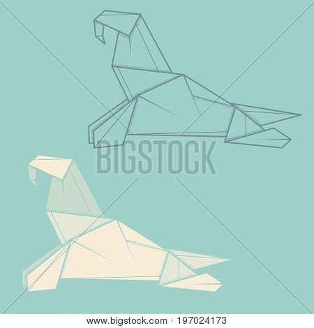 Set vector simple illustration paper origami and contour drawing of walrus.