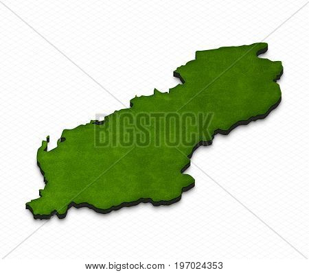 Map Of Albania. 3D Isometric Perspective Illustration.