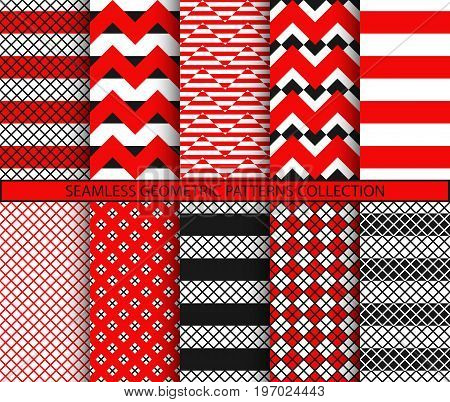 Seamless geometric patterns collection. Square tile if doubled. 1 to 2 ratio. Red black white graphic prints. Fishnet and chevron backgrounds set. Zigzag and stripes ornaments. Vector illustration.