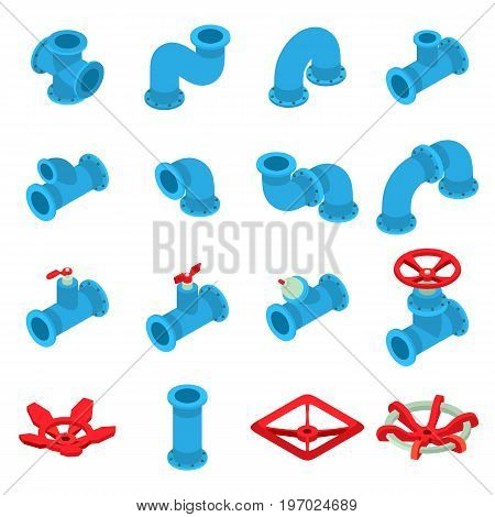 3d printing icons set. Isometric illustration of 16 3d printing icons set vector icons for web