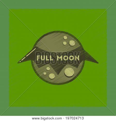 flat shading style icon of full moon bat