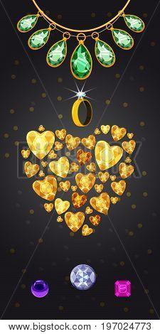 Jewelry heart vertical concept. Cartoon illustration of jewelry banner vertical vector for web