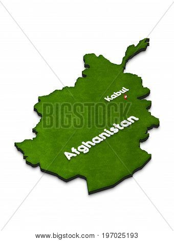 Map Of Afghanistan. 3D Isometric Perspective Illustration.