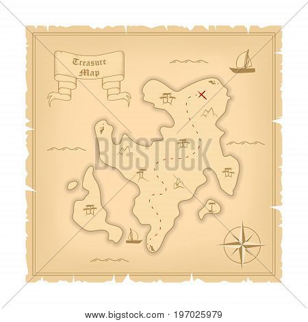 Vector Template of Pirate old Treasure Map. Illustration of Vintage Paper Stylized Manuscript with Islands and Windrose