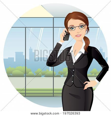 Business woman talking on the phone at the office. Elegant woman in black suit smiling and holding the phone in her hand. Flat design, vector illustration