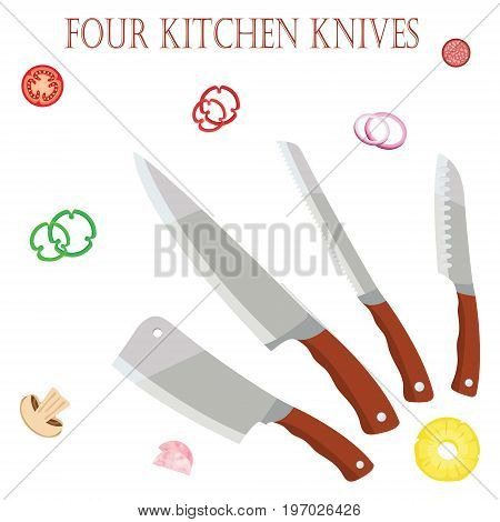 Four kitchen knives for the chef for chefs with vegetables. EPS10. Vector illustration on white isolated background.