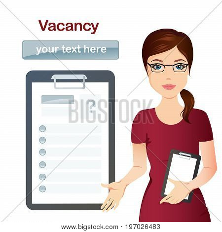 HR manager hires a worker for the vacancy, Staff recruitment. Flat design, vector illustration