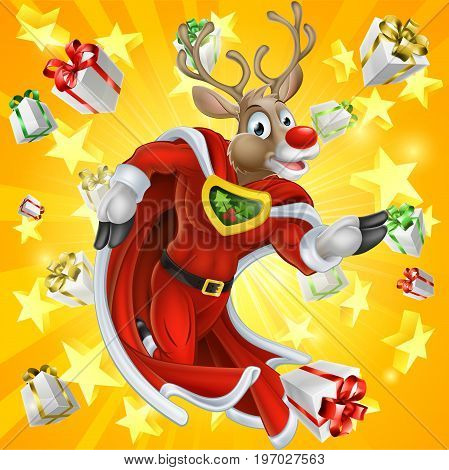 A cute cartoon superhero Christmas Reindeer character running with stars and Chrismas gifts or presents in the background