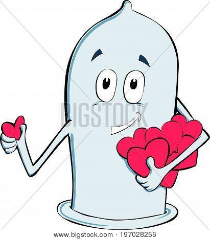 Cartoon condom humanization in vector. Safe sex. Love with condom. Heart from condom.