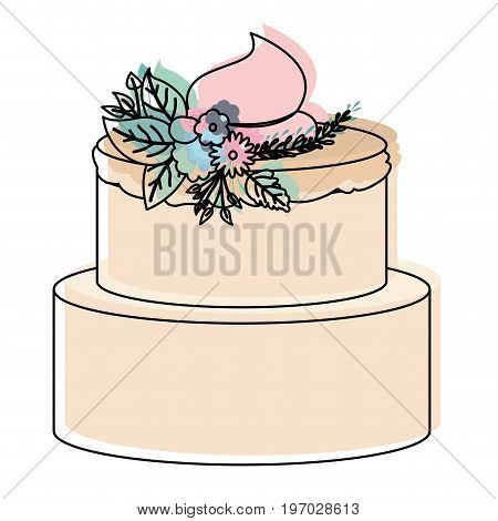 watercolor silhouette of hand drawing two-story cake with pink buttercream and ornament plants decorative vector illustration