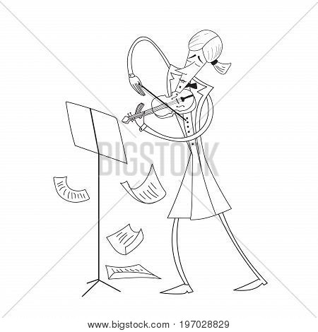 Hand drawn violinist isolated on white background. Vector.