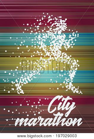 City marathon poster design concept with running woman particle divergent silhouette. Vector illstration