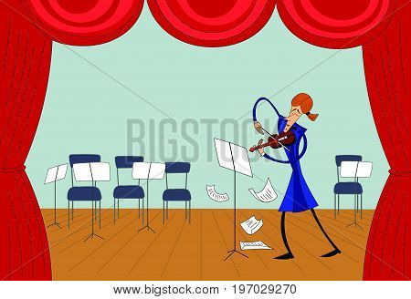 Hand drawn violinist playing on the stage. Vector.