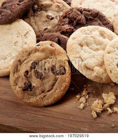 Closeup of a group of assorted cookies.