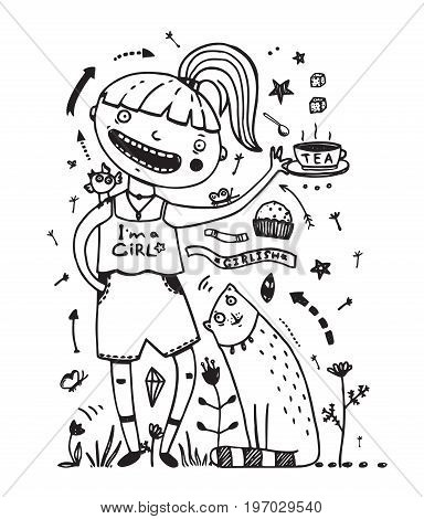 Teenager girl feeding cat, eating sweets, outlined design elements. Vector illustration.