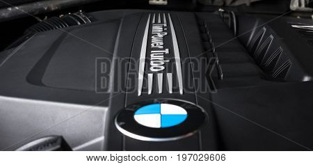 Saint-Petersburg, Russia - February 10, 2017: Engine motor of BMW car close-up with emblem, at the test-drive in Sankt-Petersburg at february 10.