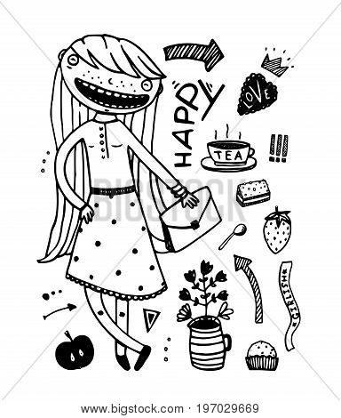 Freehand doodle girls items hand drawn set. Vector illustration.