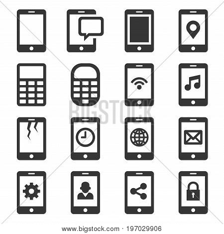 Phone and Communication Icon Set. Vector Illustration
