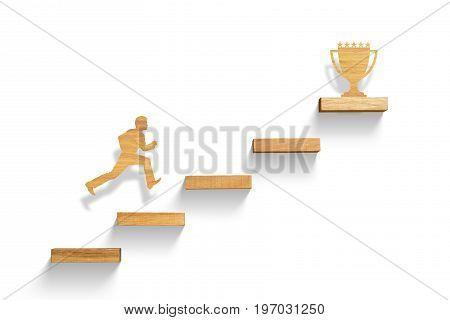 man running on stairs to success, successful concept