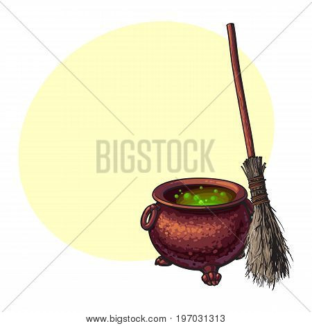 Hand drawn Halloween symbols - witch cauldron with boiling green potion and old broom, sketch vector illustration with space for text. Sketch style Halloween cauldron and witch twig broom
