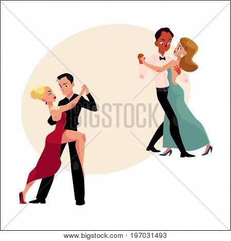 Two couples of professional ballroom dancers dancing, looking at each other, cartoon vector illustration with space for text. Two ballroom dance couples dancing tango, waltz, rumba
