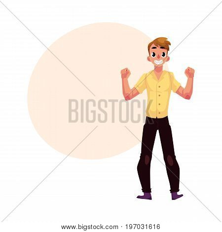 Young man, boy, guy, rejoicing, cheering, clenching fists in happiness and excitement, cartoon vector illustration with space for text. Full length portrait of happy rejoicing young man