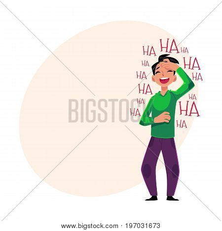 Young man laughing out loud, crying from laughter holding forehead, cartoon vector illustration with space for text. Full length portrait of young man bursting with laughter, laughing to tears