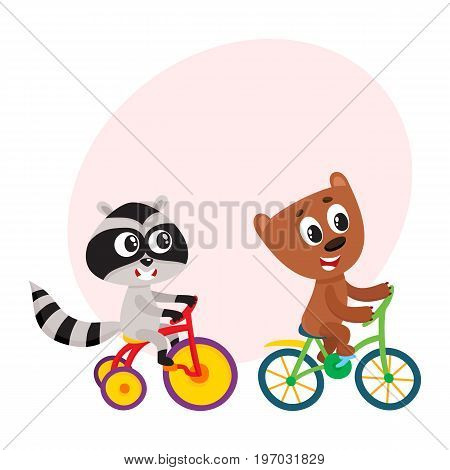 Cute little raccoon and bear characters riding bicycles together, cartoon vector illustration with space for text. Baby raccoon and bear animal characters riding bicycle and tricycle