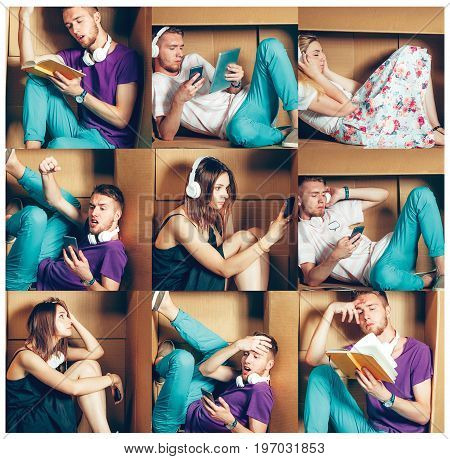 Introvert concept. Collage of man and women sitting inside box and working with phone and laptop