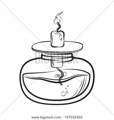 Sketch of spirit lamp chemical burner. Chemical experiments. Vector illustration, EPS 10