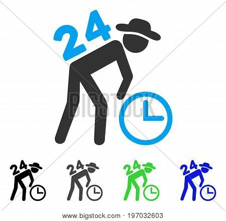 Around The Clock Working Gentleman flat vector illustration. Colored around the clock working gentleman gray, black, blue, green pictogram versions. Flat icon style for graphic design.